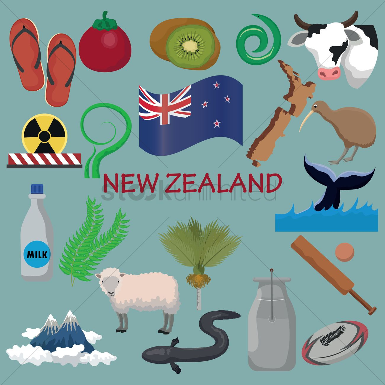 Set Of New Zealand Icons Vector Image 2016516 Stockunlimited