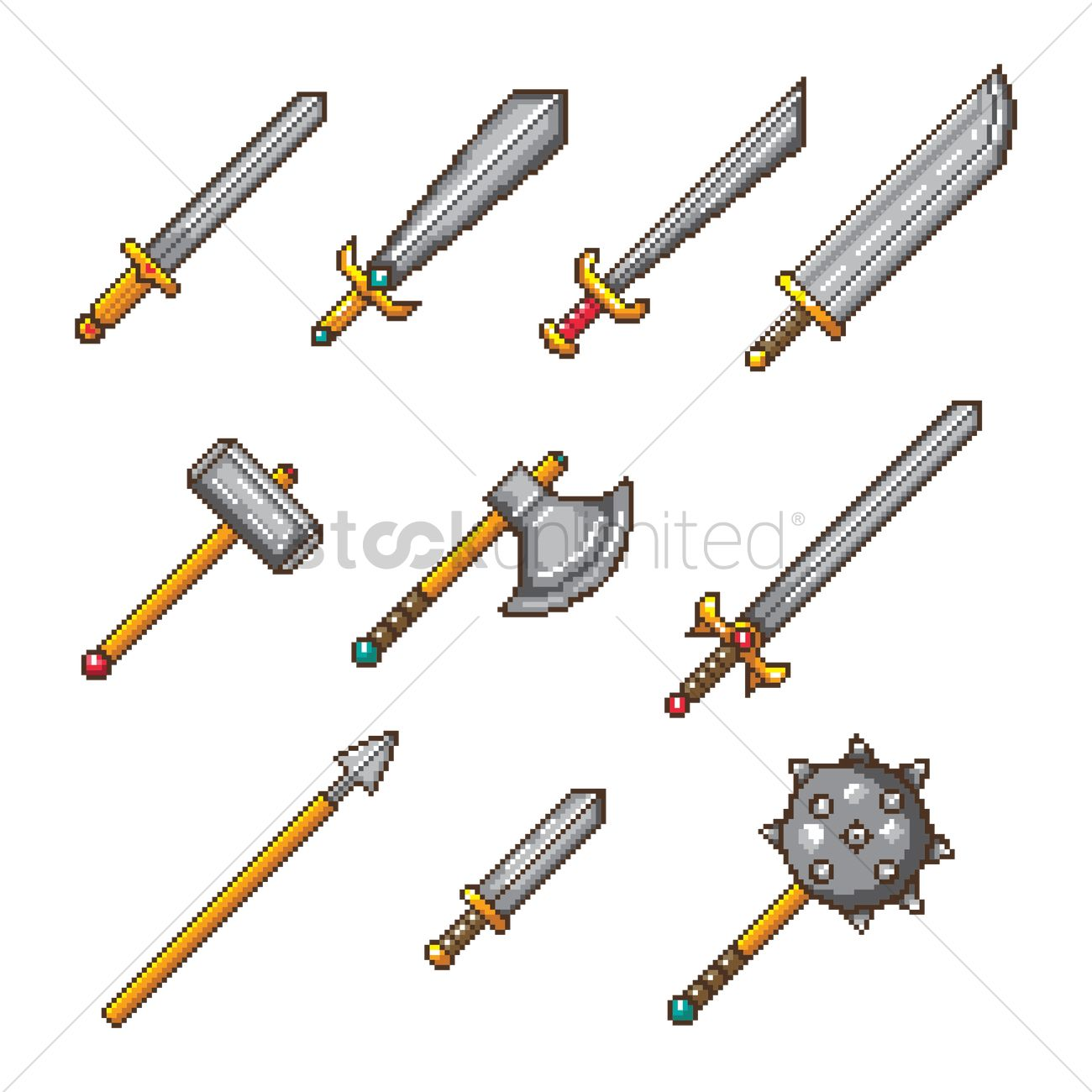Set Of Pixel Art Weapon Icons Vector Image