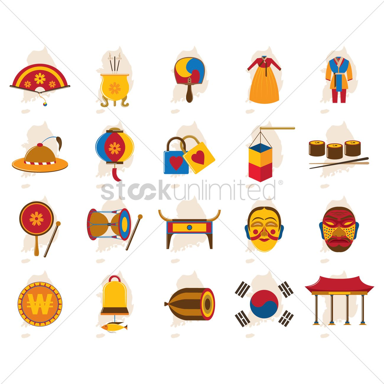 Set Of South Korea Icons Vector Image 2014100 Stockunlimited