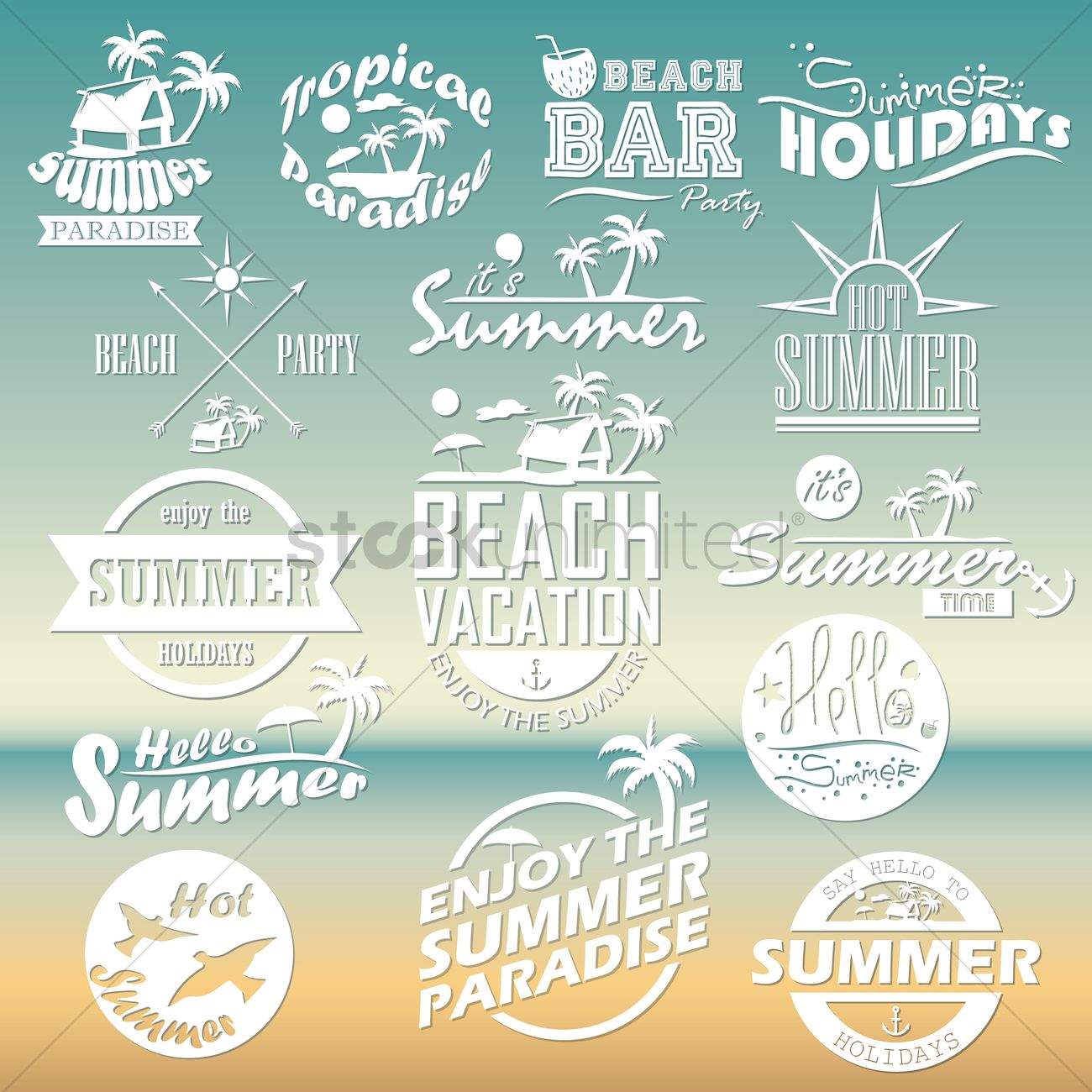 Set of summer holidays wallpapers vector image 1617856 set of summer holidays wallpapers vector graphic m4hsunfo
