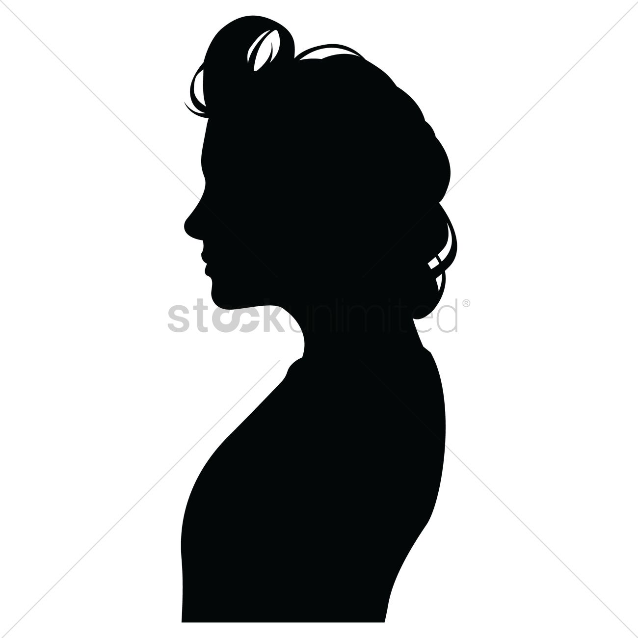 side view of a silhouette woman vector graphic
