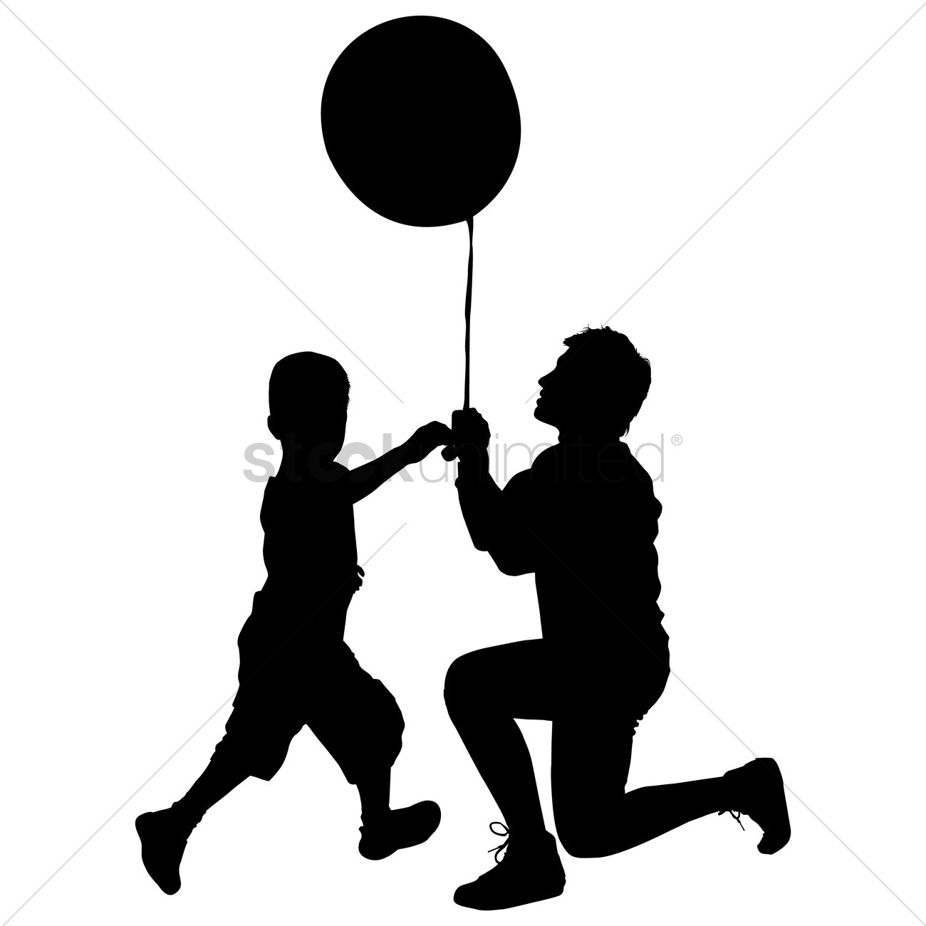 silhouette of a father and son with balloon vector graphic