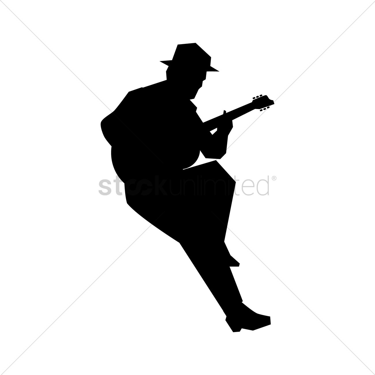 Silhouette of a man playing a guitar Vector Image ...