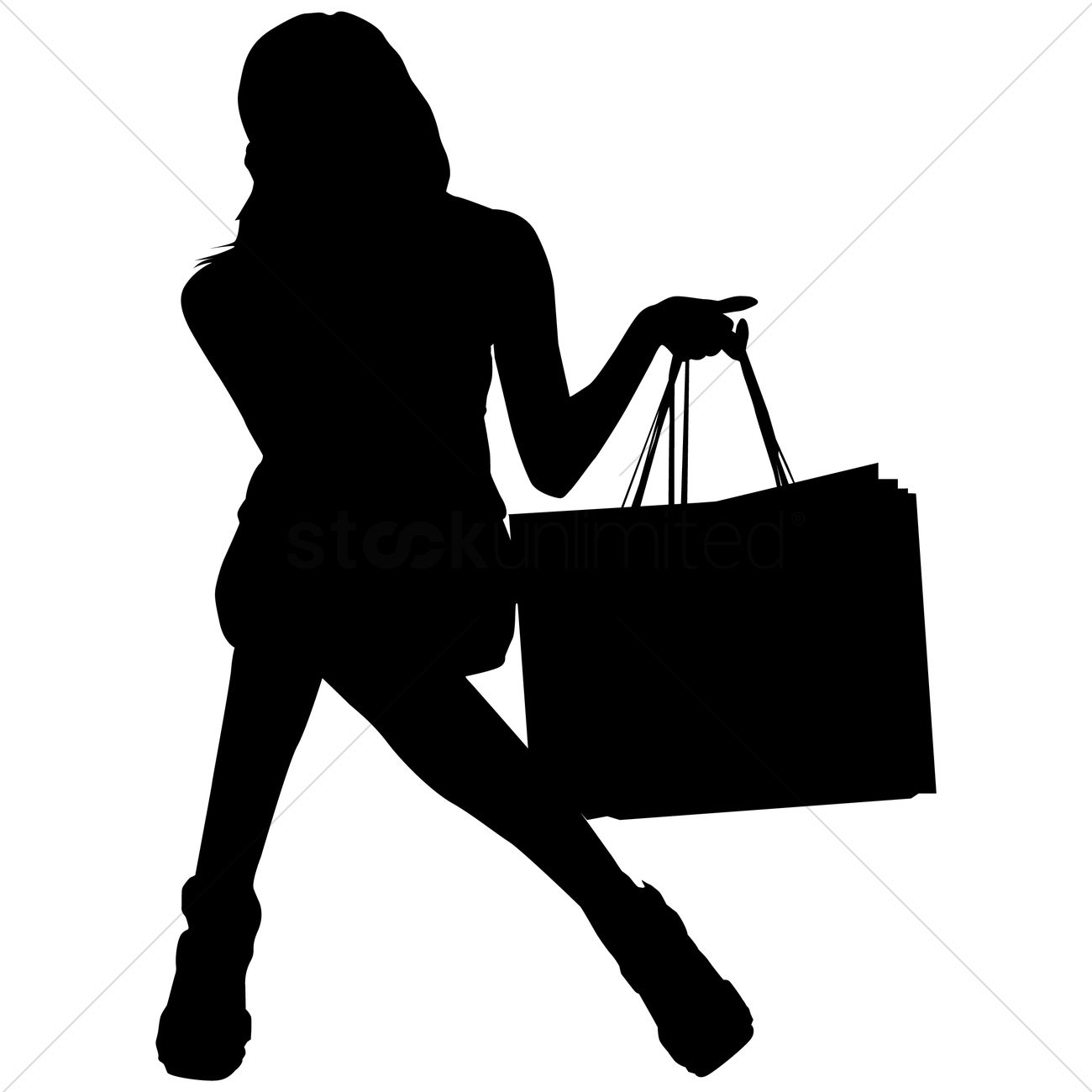 Free Silhouette of a woman with shopping bags Vector Image ...
