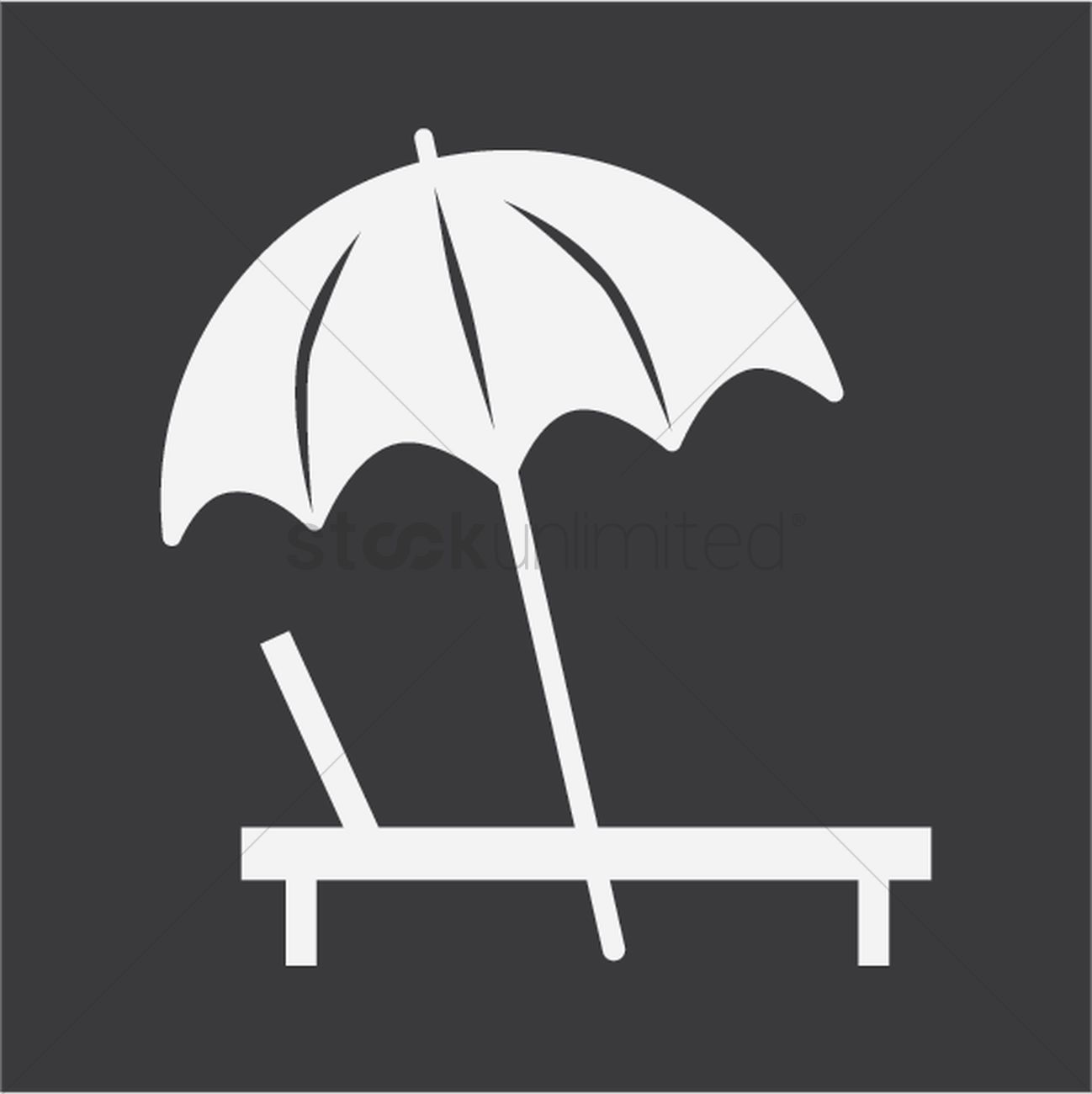 Silhouette of beach chair and umbrella Vector Image ...