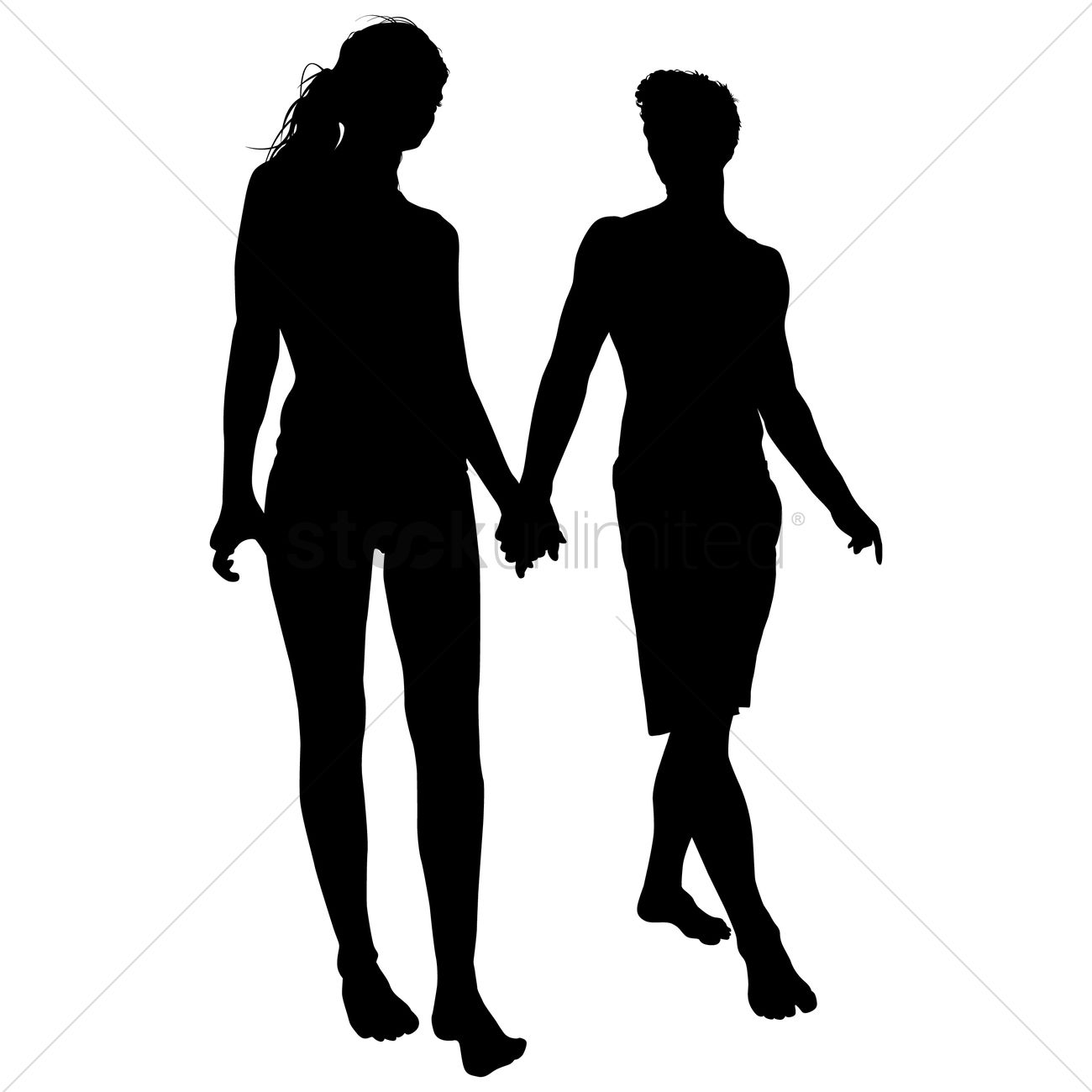 silhouette of couple walking together vector image