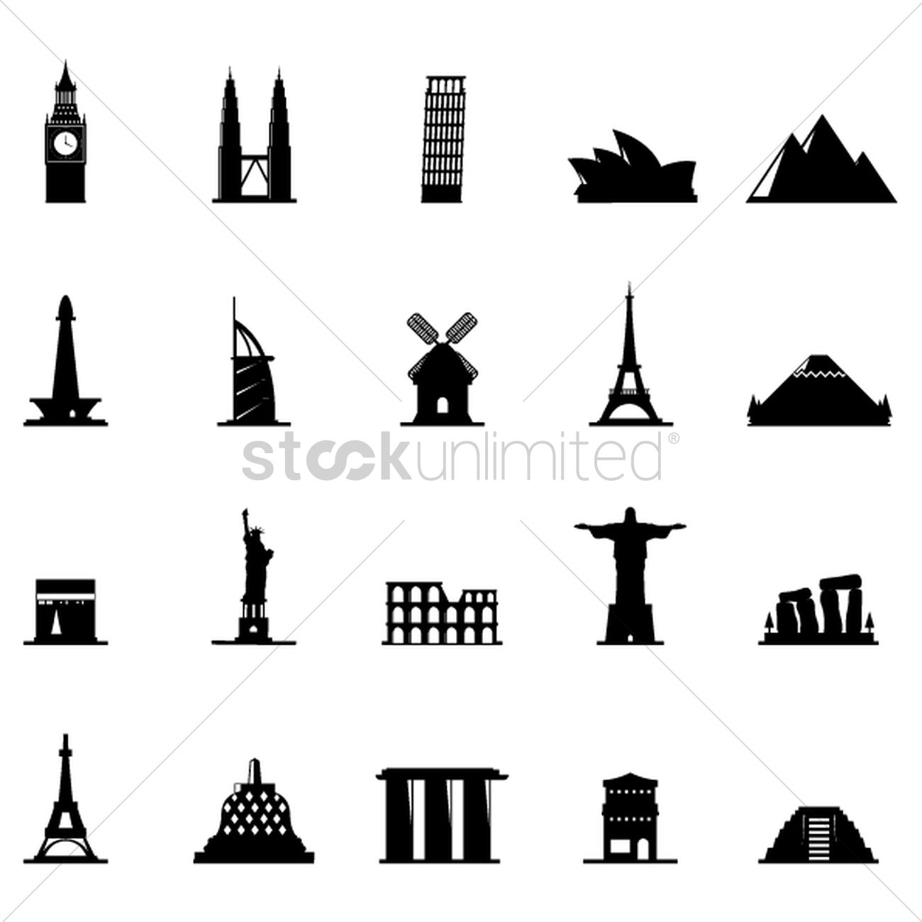 Free Silhouette of famous landmarks Vector Image - 1501388