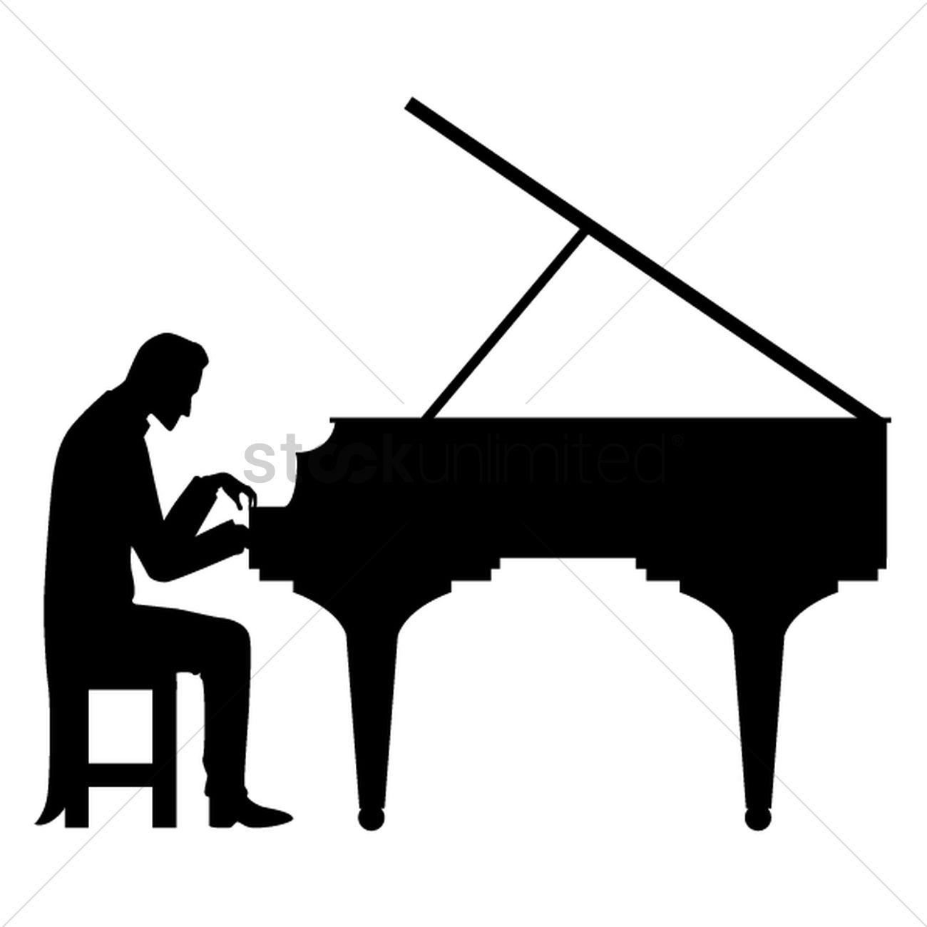 Silhouette Of Man Playing Piano Vector Graphic