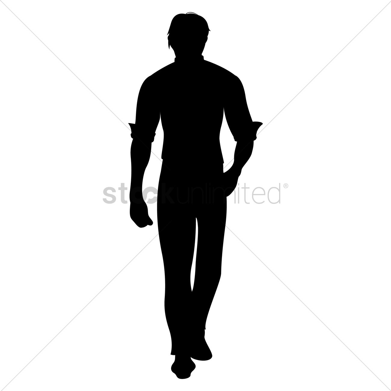 Silhouette Of Man Walking Vector Graphic