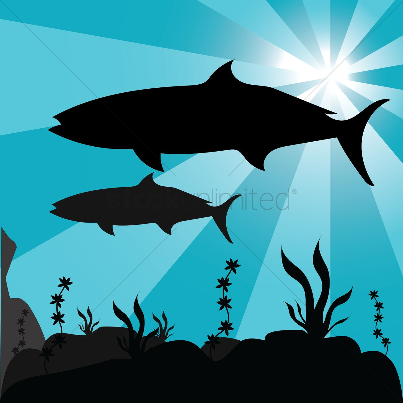 silhouette of underwater fish vector image 1501876 stockunlimited