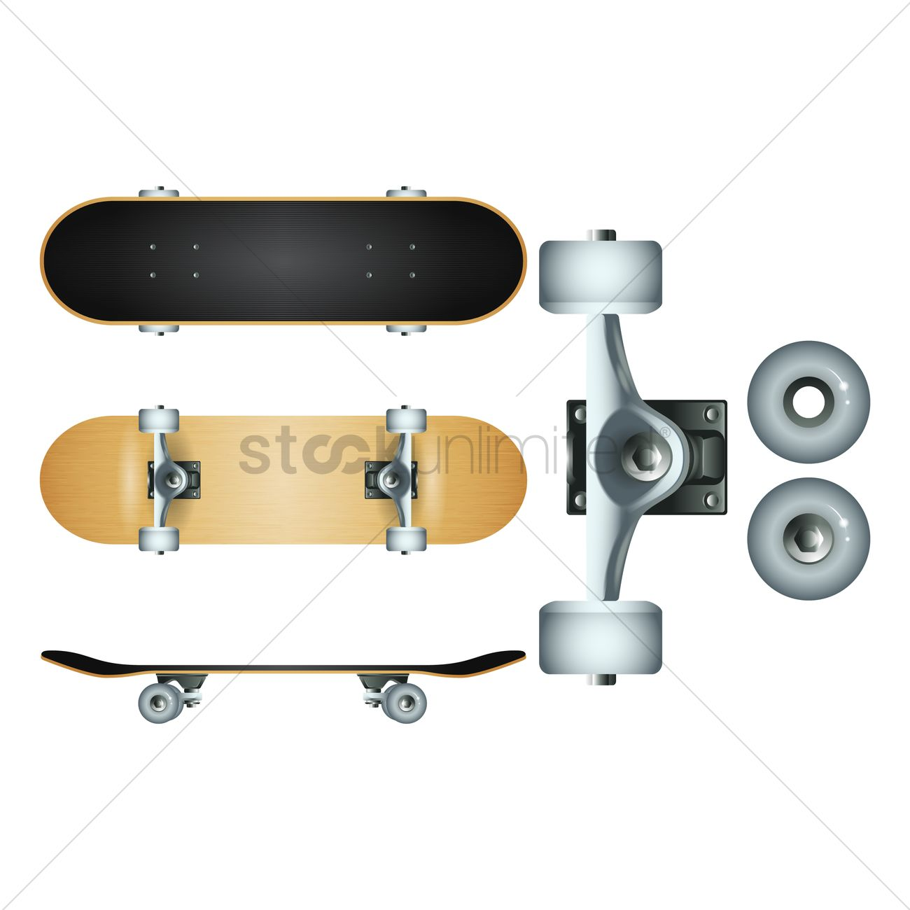 82bb0cd8 Skateboard and wheels set Vector Image - 1806632 | StockUnlimited