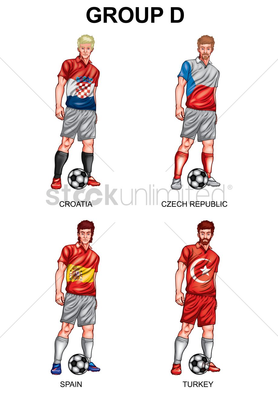 48dcbed48f6 Soccer players group d Vector Image - 1817200