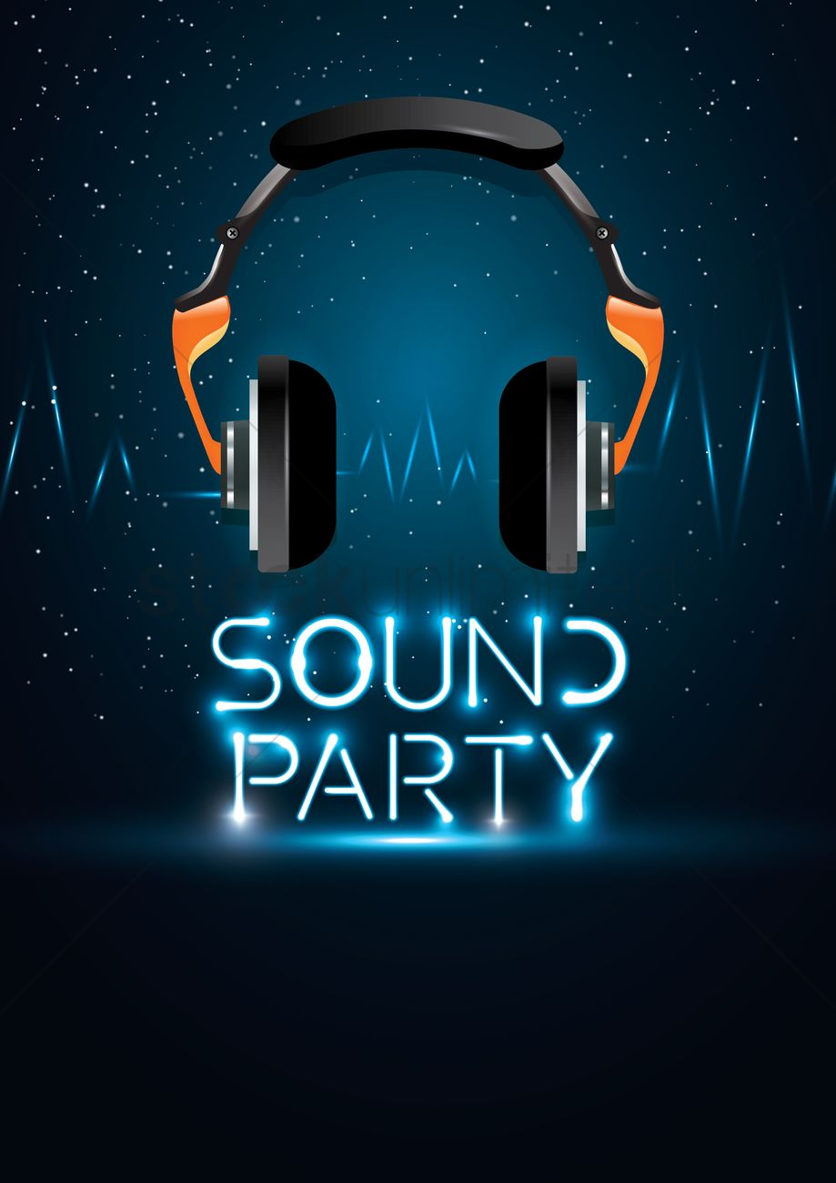 Poster design vector graphics - Sound Party Poster Design Vector Graphic
