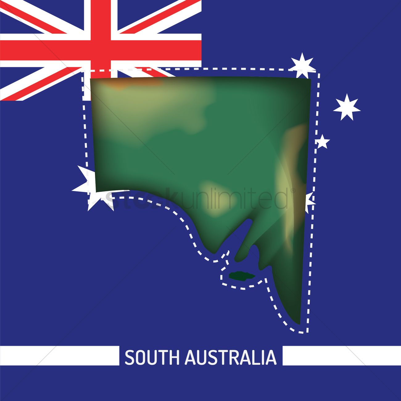 Australia Map With Flag.South Australia Map On Australia Flag Vector Image 1961480