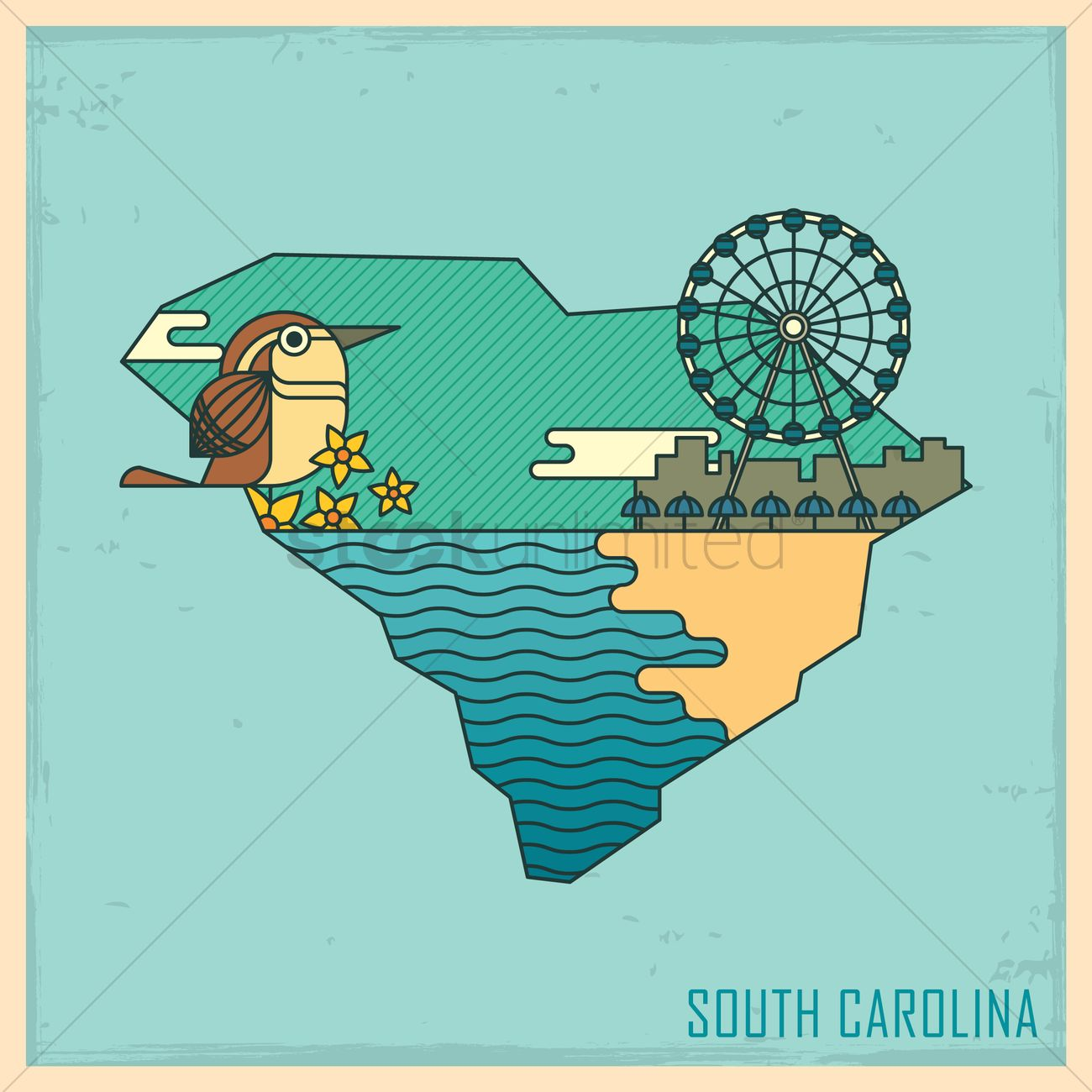South carolina state map Vector Image - 1563488 | StockUnlimited