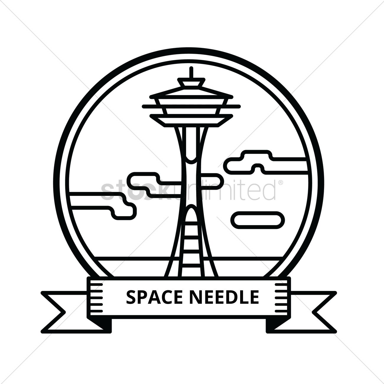 coloring pages space needle - photo#25