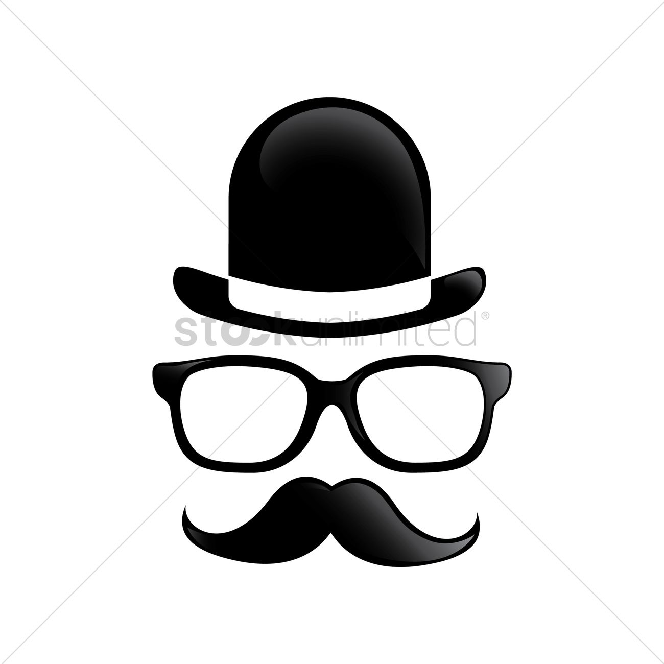 Spectacles and mustache with hat design Vector Image