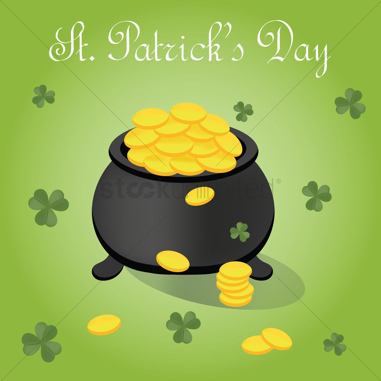 St Patricks Day Poster With Pot Of Gold Coins Vector Graphic