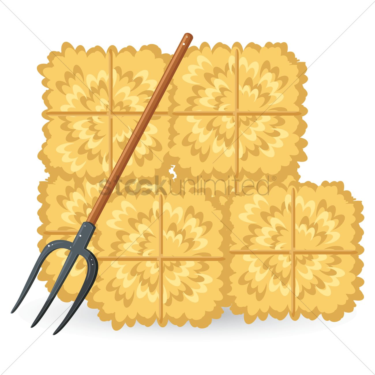 Hay Bale Clip Art : Straw bales with pitchfork vector image