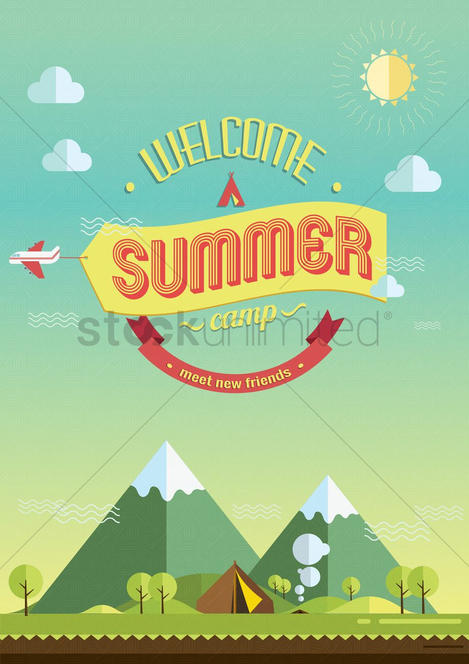 summer camp poster vector image 1560256 stockunlimited