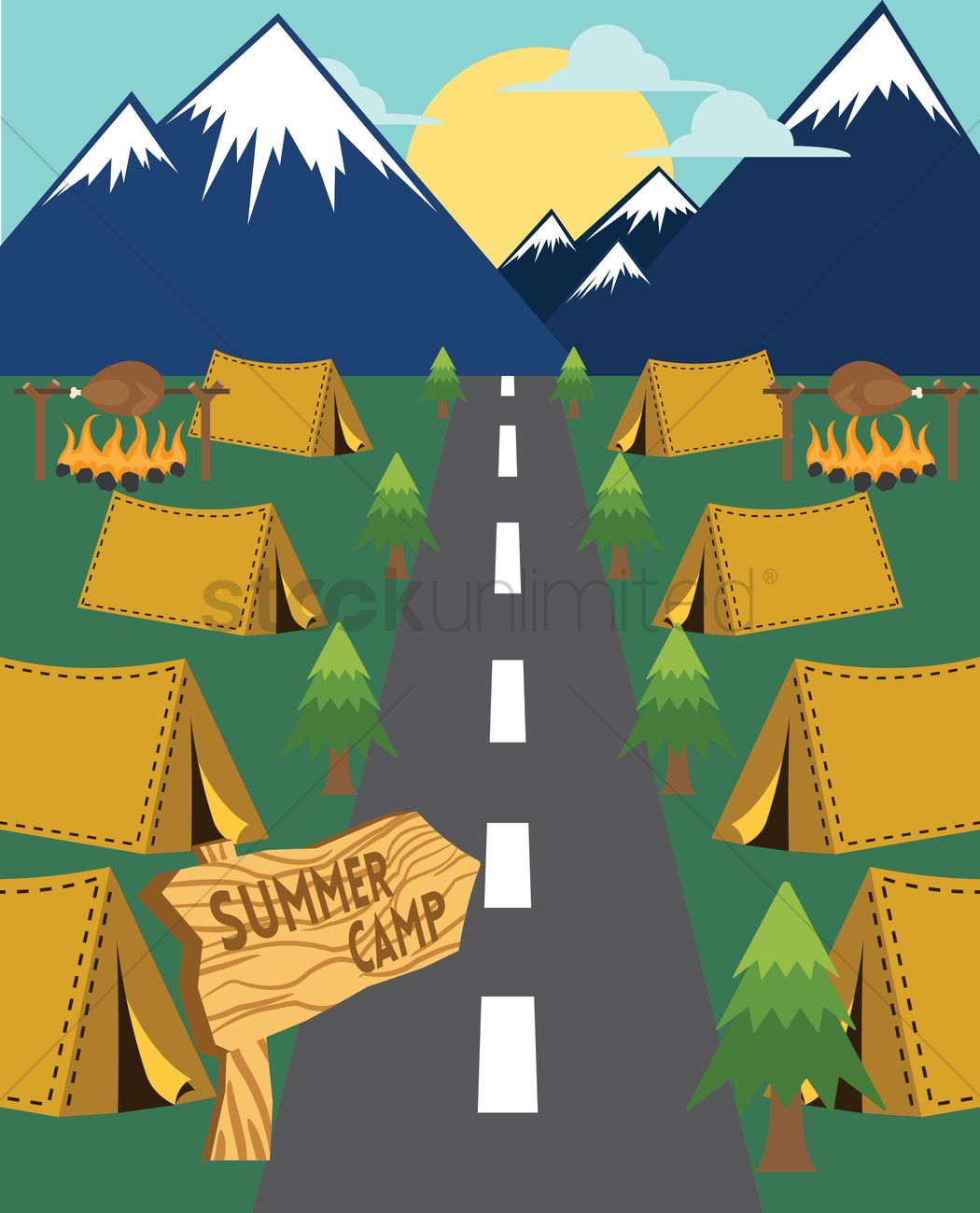 summer camp wallpaper vector image 1618420 stockunlimited