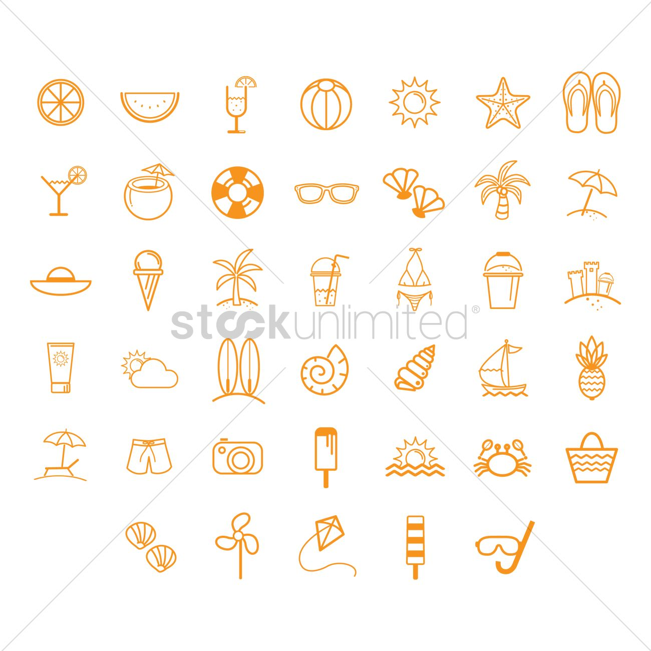 11a2533c87d5 Summer vacation icons Vector Image - 1376748