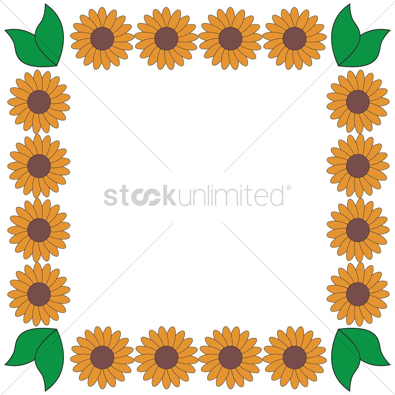 Sunflower frame border Vector Image - 1353592 | StockUnlimited