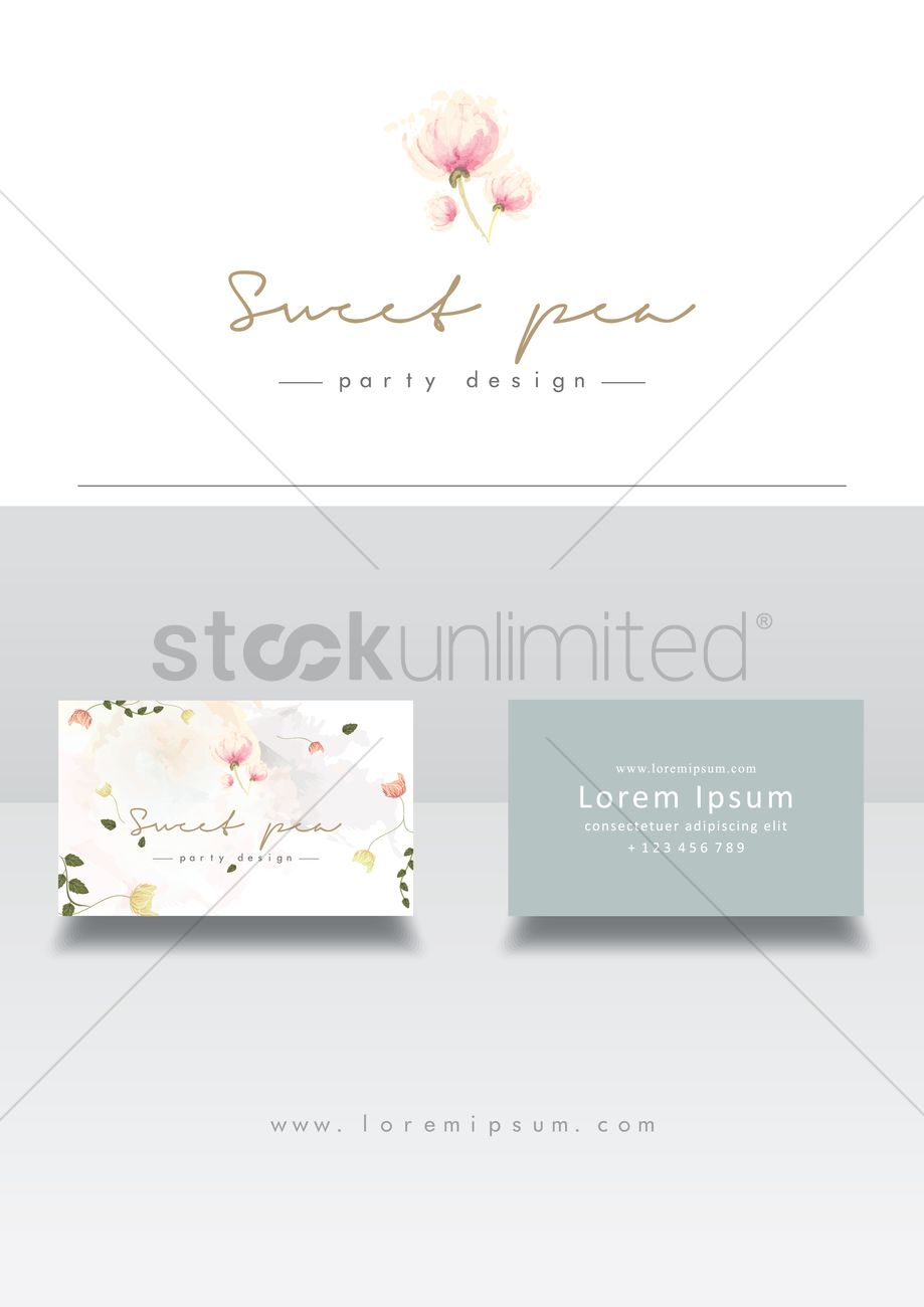Sweet Pea Business Cards Vector Image 1811636 Stockunlimited