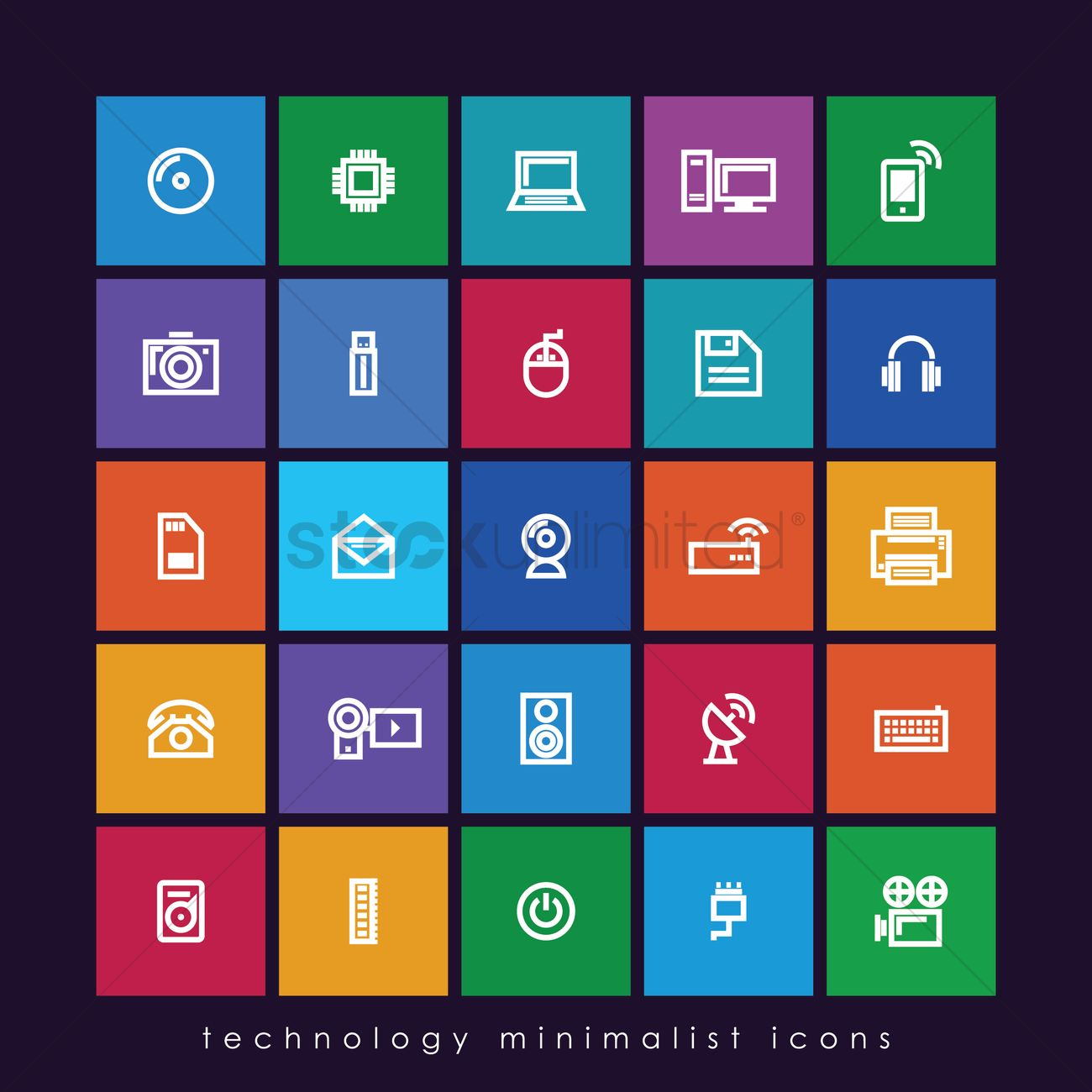 Technology minimalist icons Vector Image - 1997728