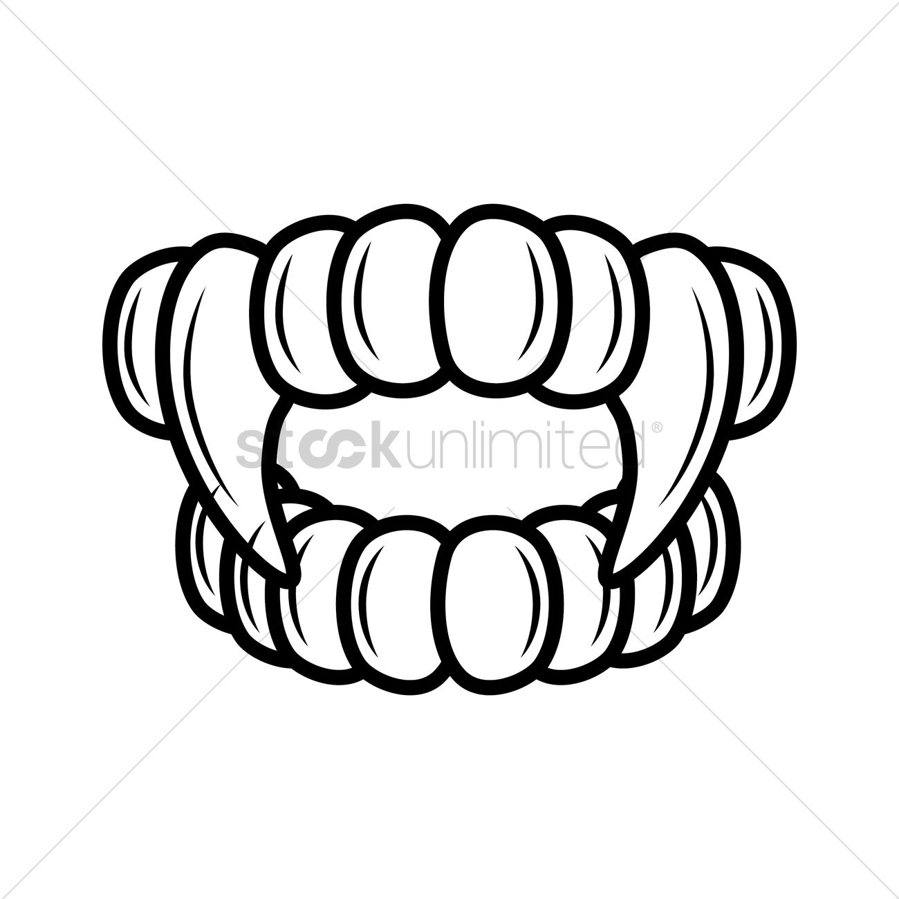 Teeth And Fangs Outline Vector Image