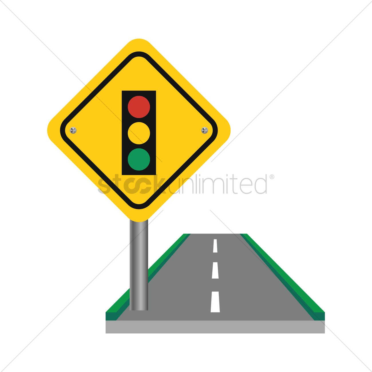 Traffic Signal Ahead Sign Vector Image 1544740 Stockunlimited