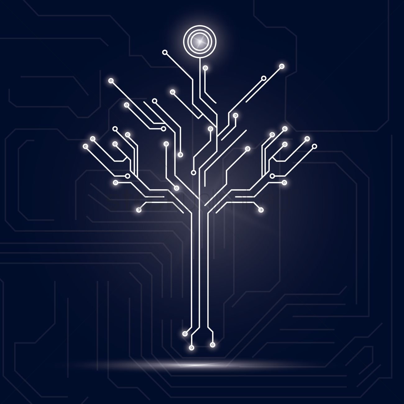 Tree design on circuit board background Vector Image - 1646948 ...