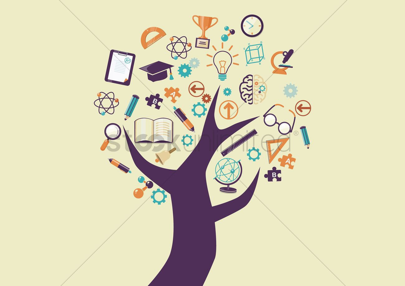 Tree with education icons Vector Image - 1272644