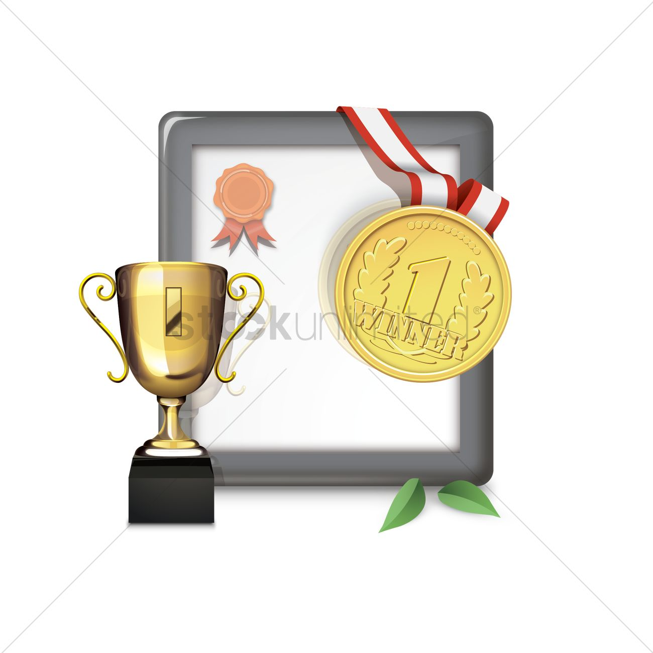Trophy with medal and certificate vector image 1501504 trophy with medal and certificate vector graphic xflitez Images