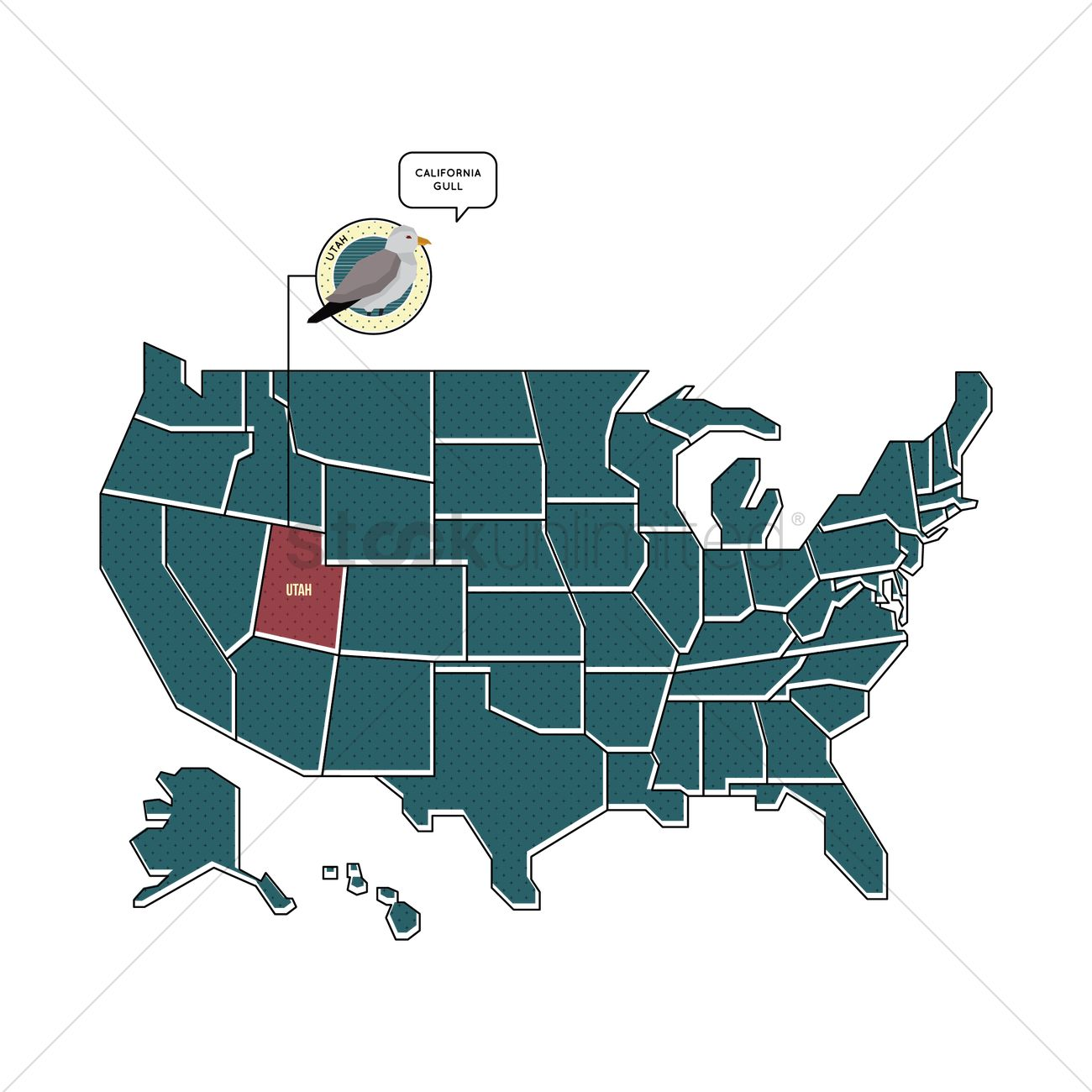 us map with utha state bird vector graphic