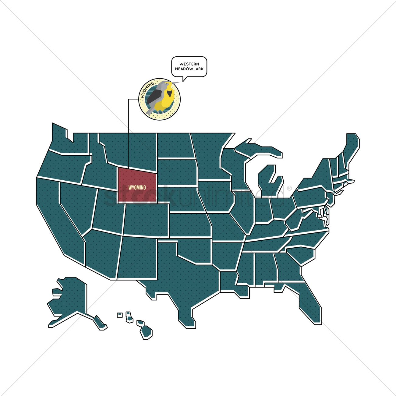Us Map With Wyoming State Bird Vector Image 1567452 Stockunlimited - Wyoming-us-map