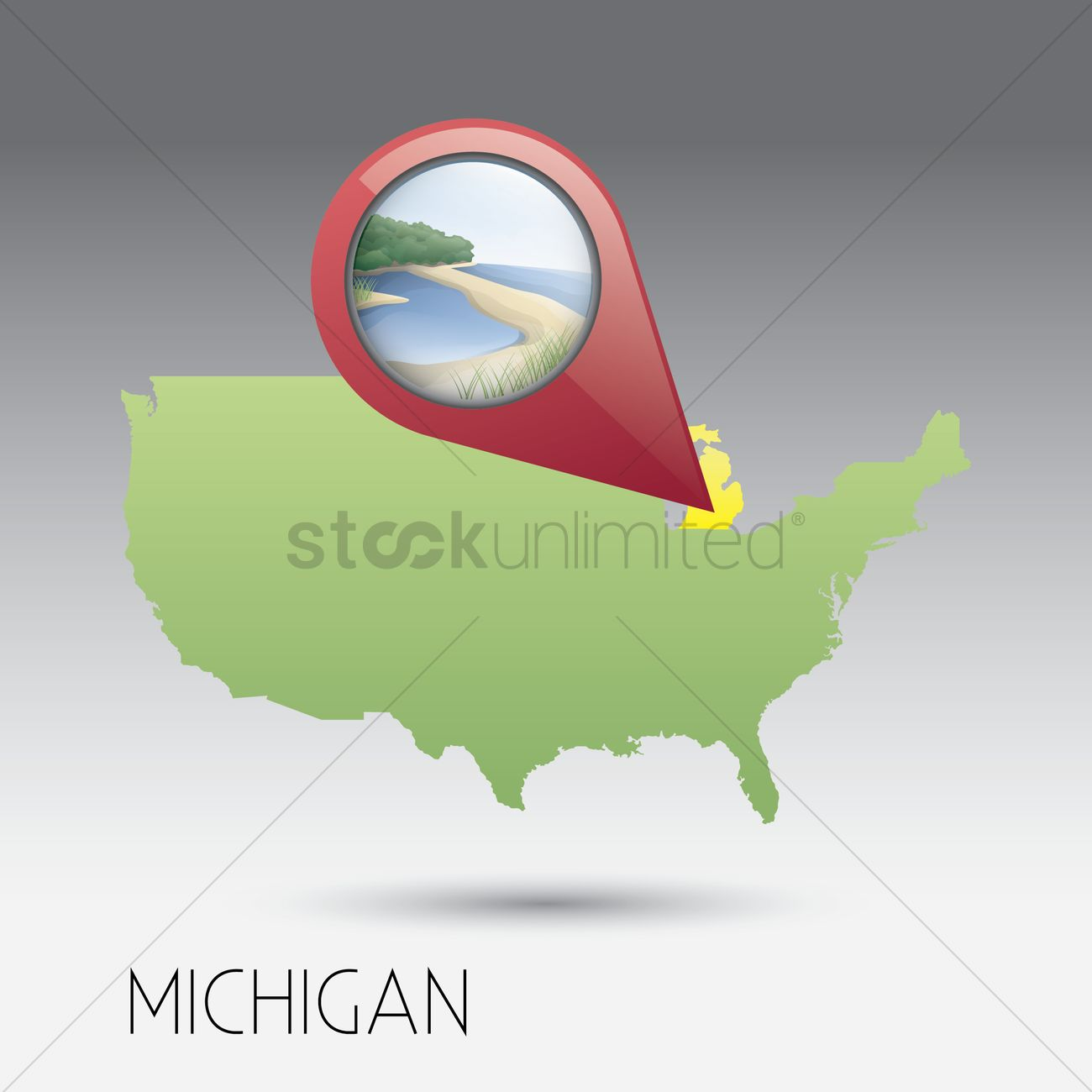 Usa Map With Michigan State Vector Image 1536212 Stockunlimited