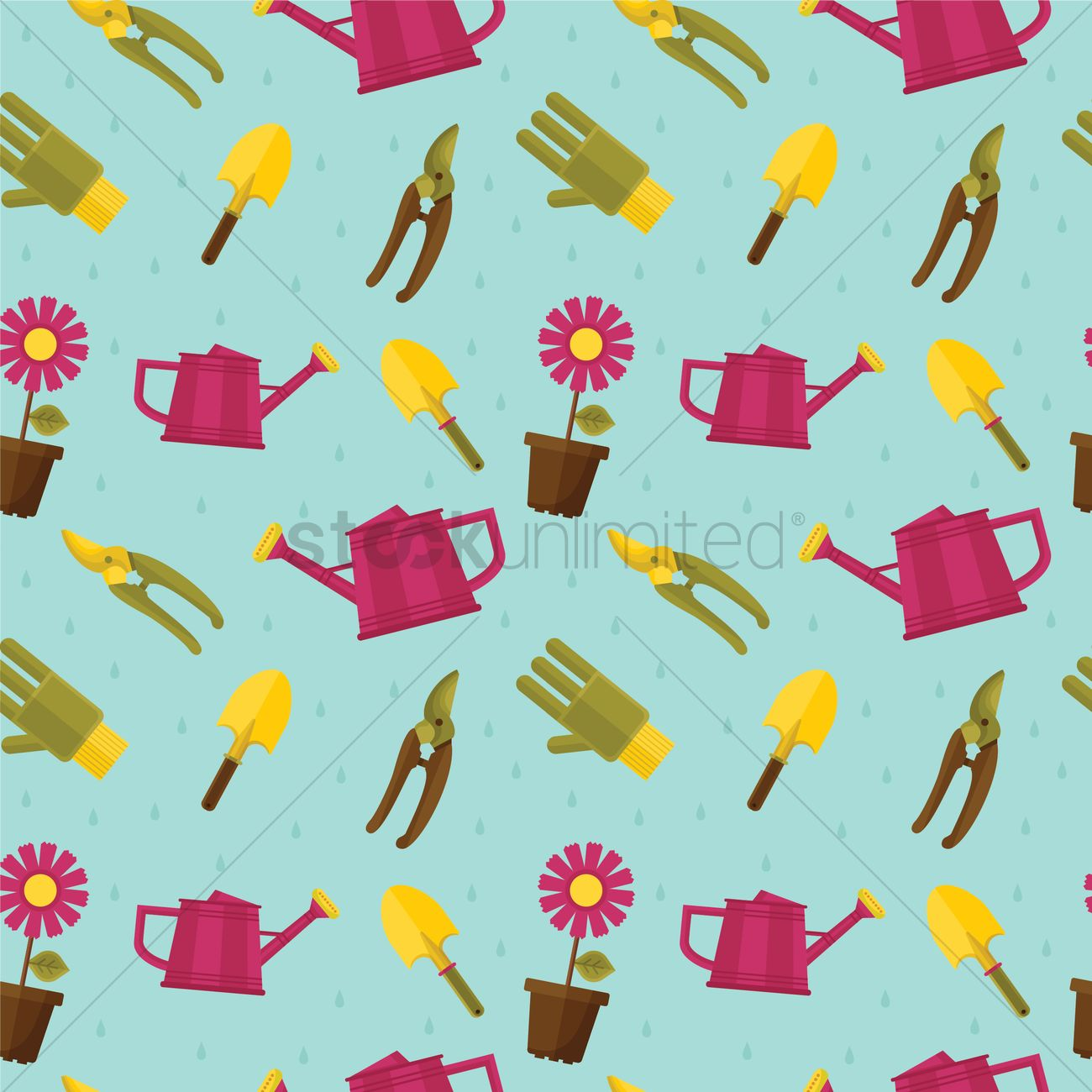 Wallpaper Of Gardening Items Vector Image 1243396 Stockunlimited