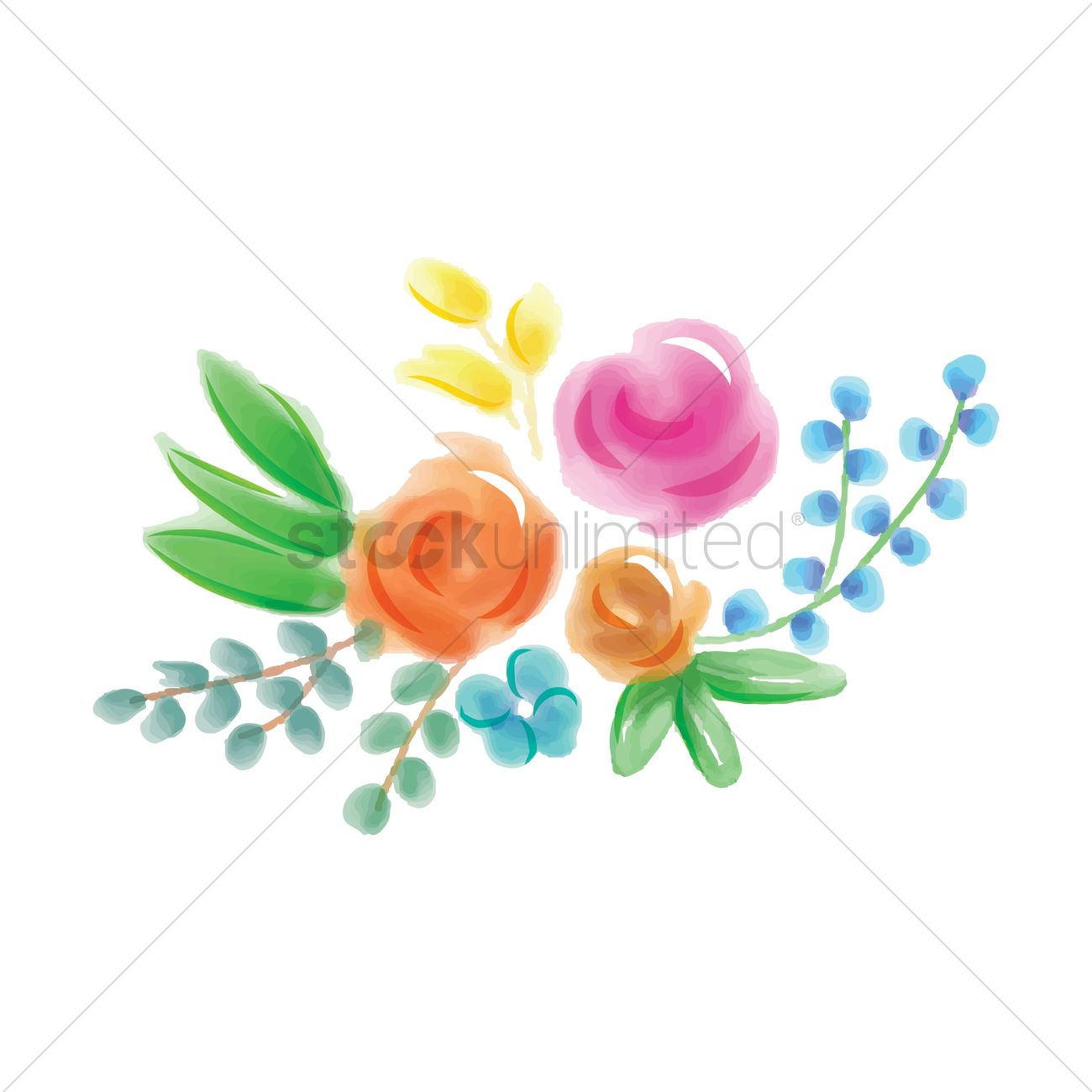 Watercolor flower with leaves Vector Image