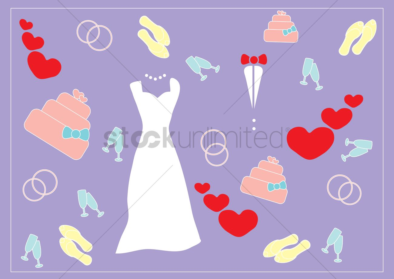 Wedding Themed Background Vector Graphic