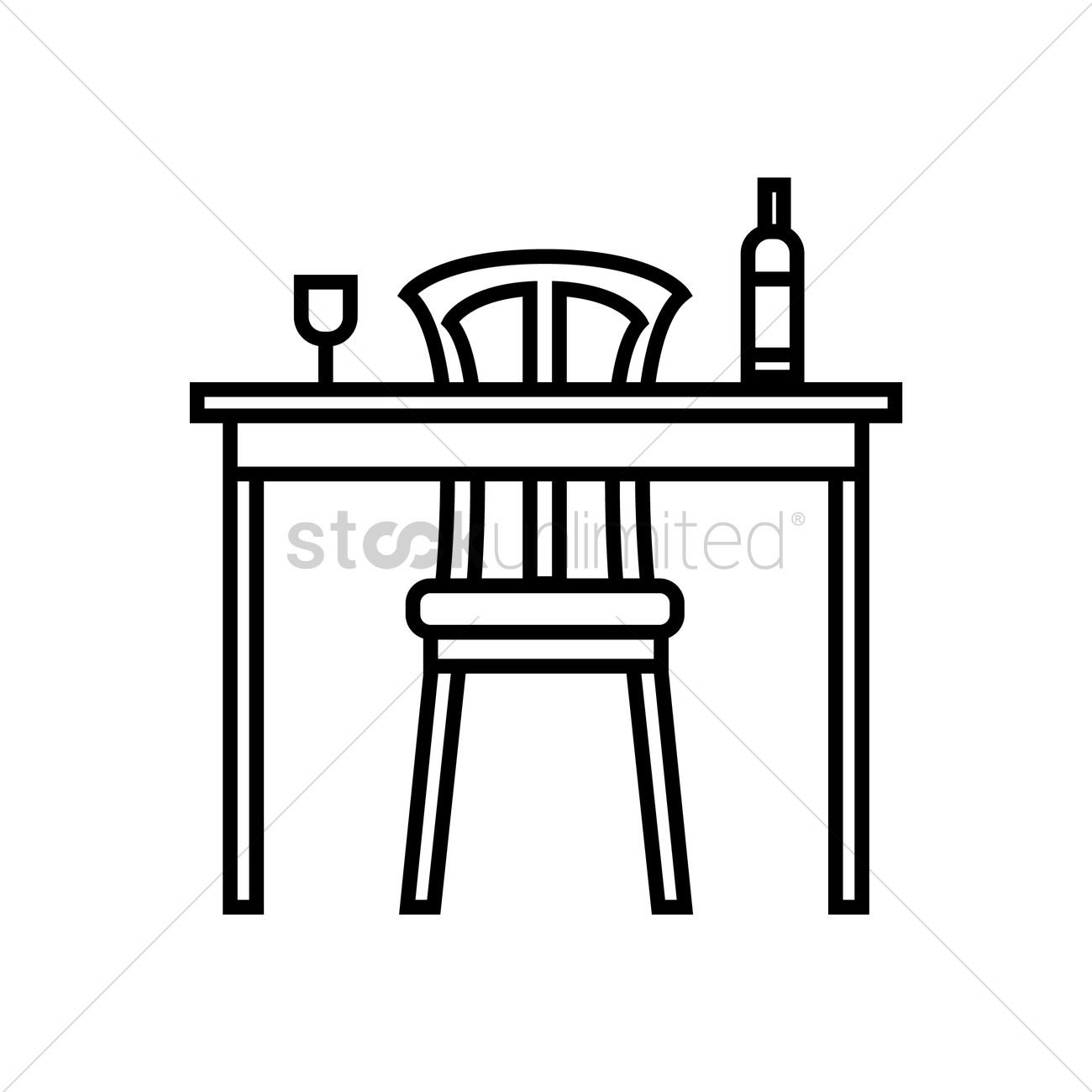 Wine Bottle And Glass On Table Vector Image 1529448 Stockunlimited