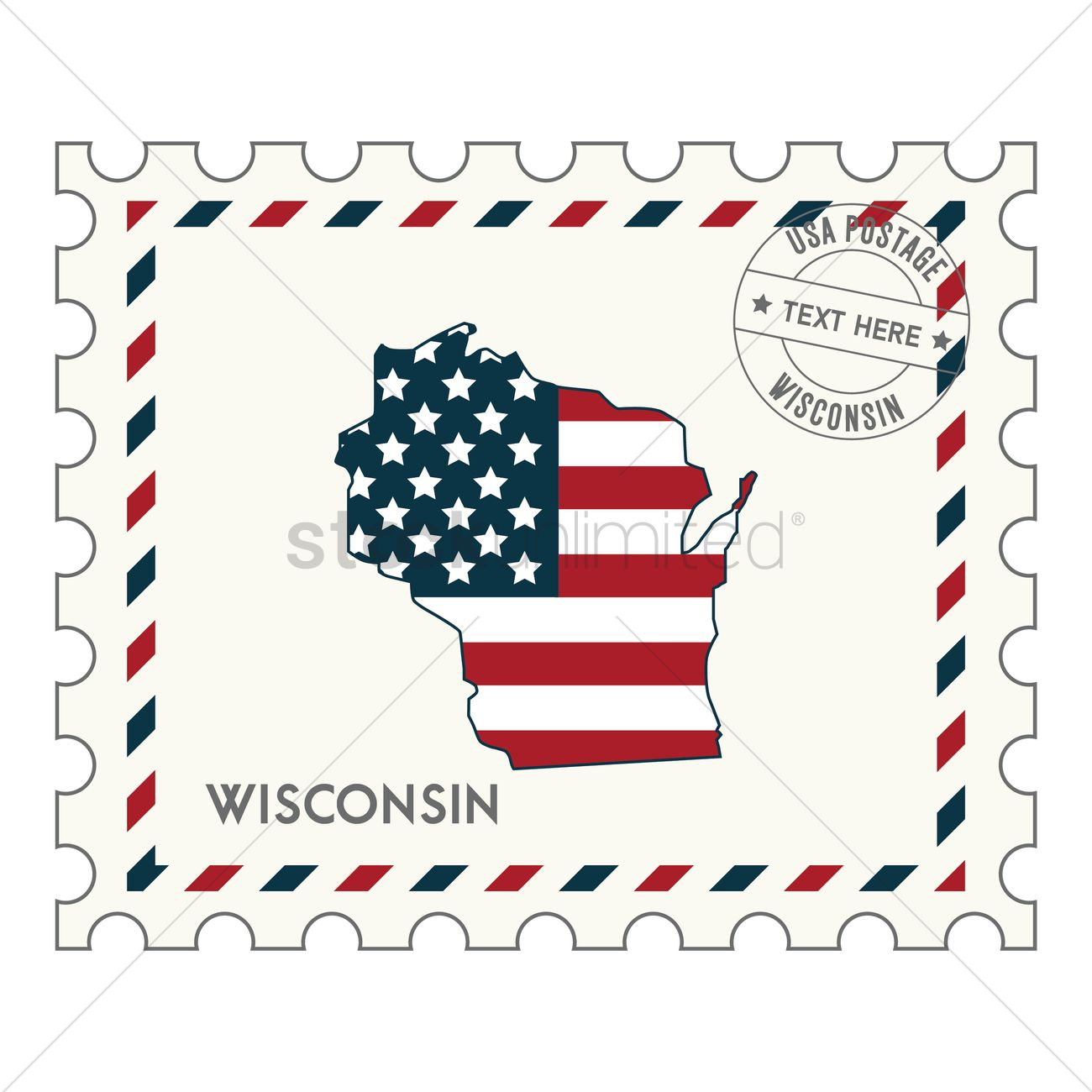 Wisconsin Postage Stamp Vector Graphic
