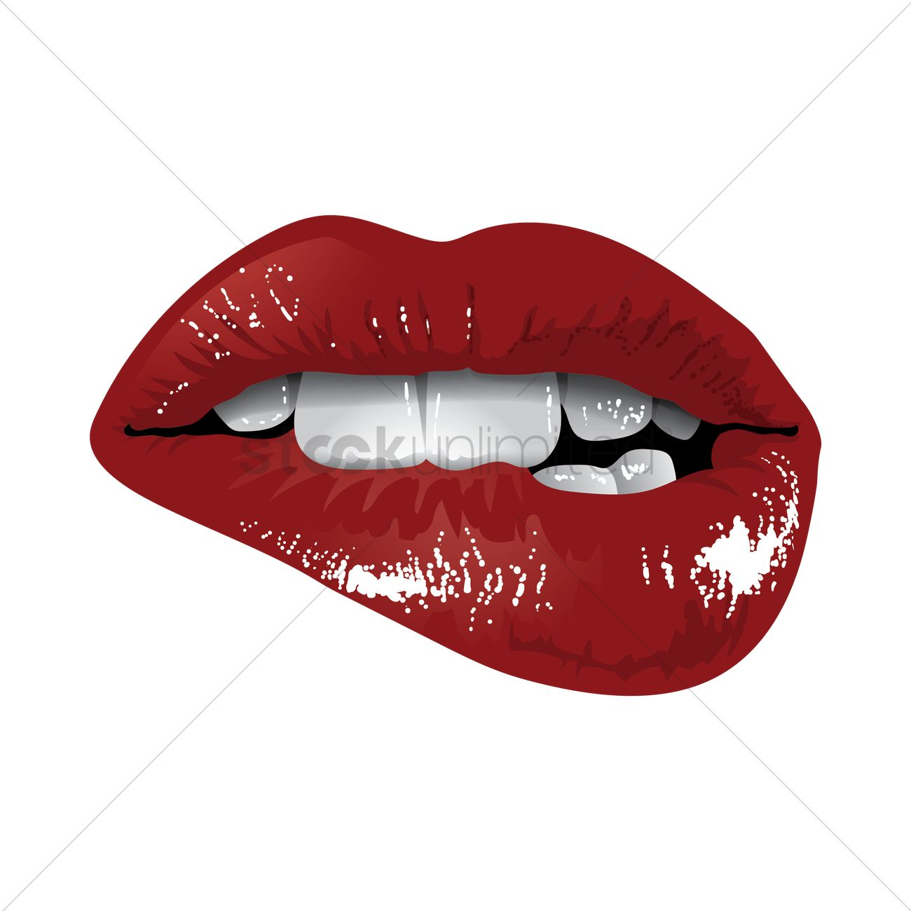 Woman Biting Lips Vector Image 1498716 Stockunlimited