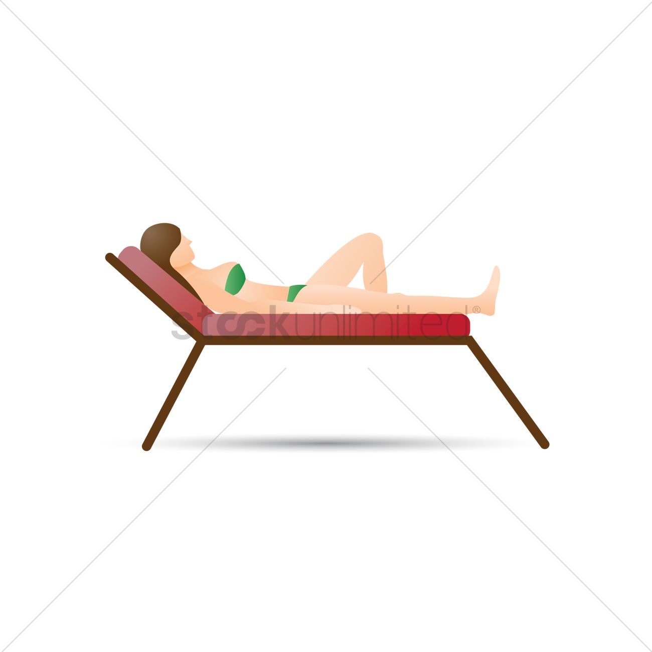 Woman Lying On Beach Chair Vector Graphic