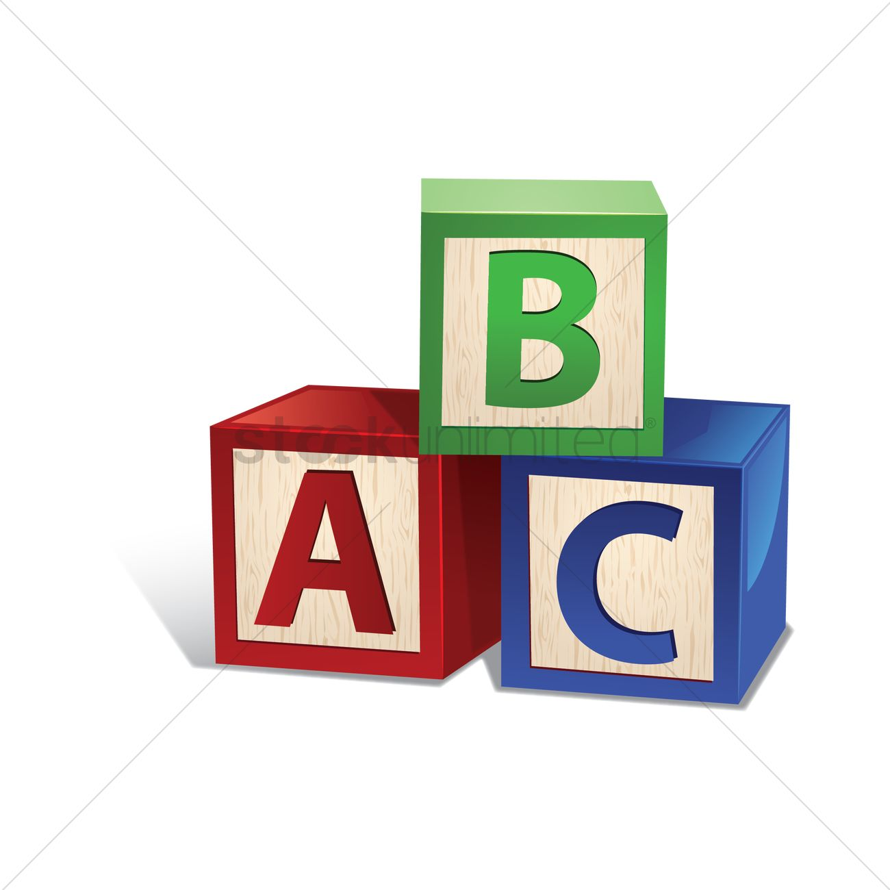 wooden letter toy blocks vector graphic