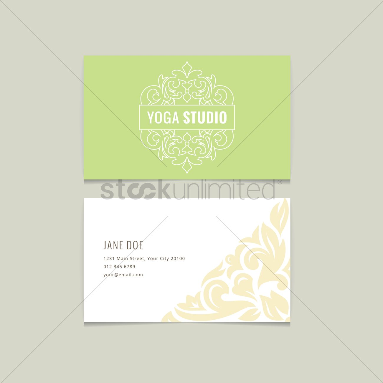 Yoga Studio Name Card Design Vector Graphic