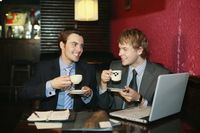 Businessmen enjoying coffee