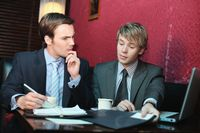 Businessmen having discussion