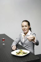 Businesswoman sharing her food