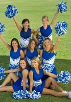 Popular : Cheerleaders posing on lawn  portrait